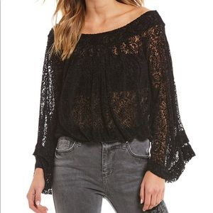 NWT Free People Velvet Lace Off The Shoulder Top S